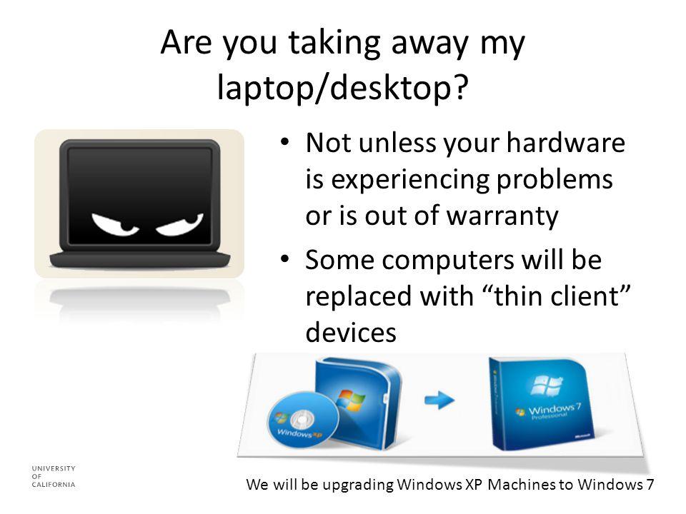 Are you taking away my laptop/desktop.