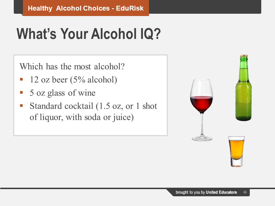 brought to you by United Educators What's Your Alcohol IQ.