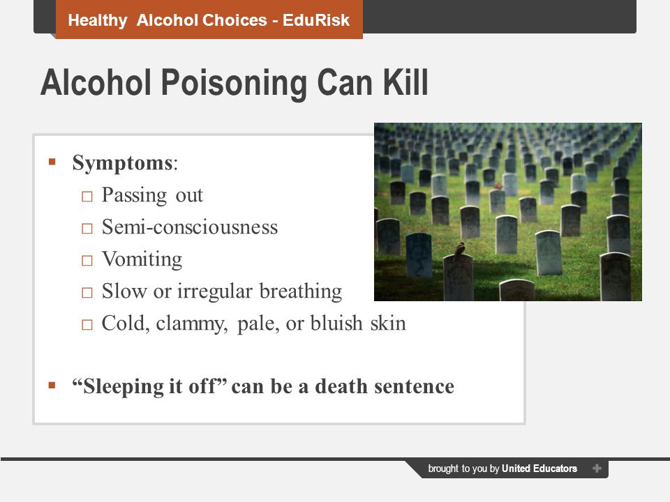 brought to you by United Educators Alcohol Poisoning Can Kill  Symptoms: □Passing out □Semi-consciousness □Vomiting □Slow or irregular breathing □Cold, clammy, pale, or bluish skin Healthy Alcohol Choices - EduRisk  Sleeping it off can be a death sentence