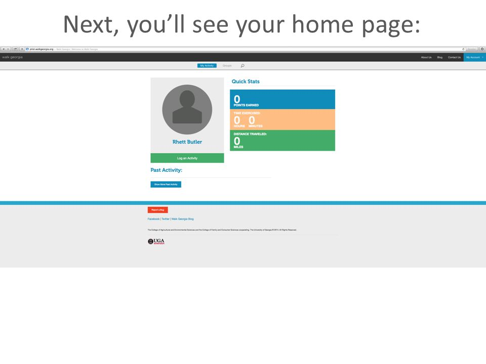 Next, you'll see your home page: