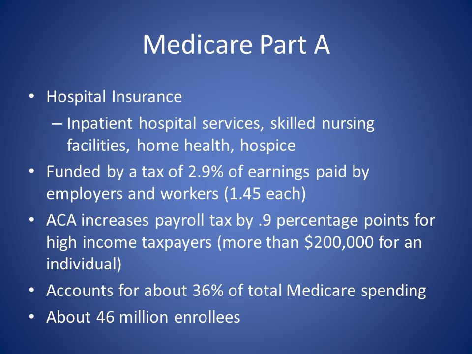 Medicare Part A Hospital Insurance – Inpatient hospital services, skilled nursing facilities, home health, hospice Funded by a tax of 2.9% of earnings