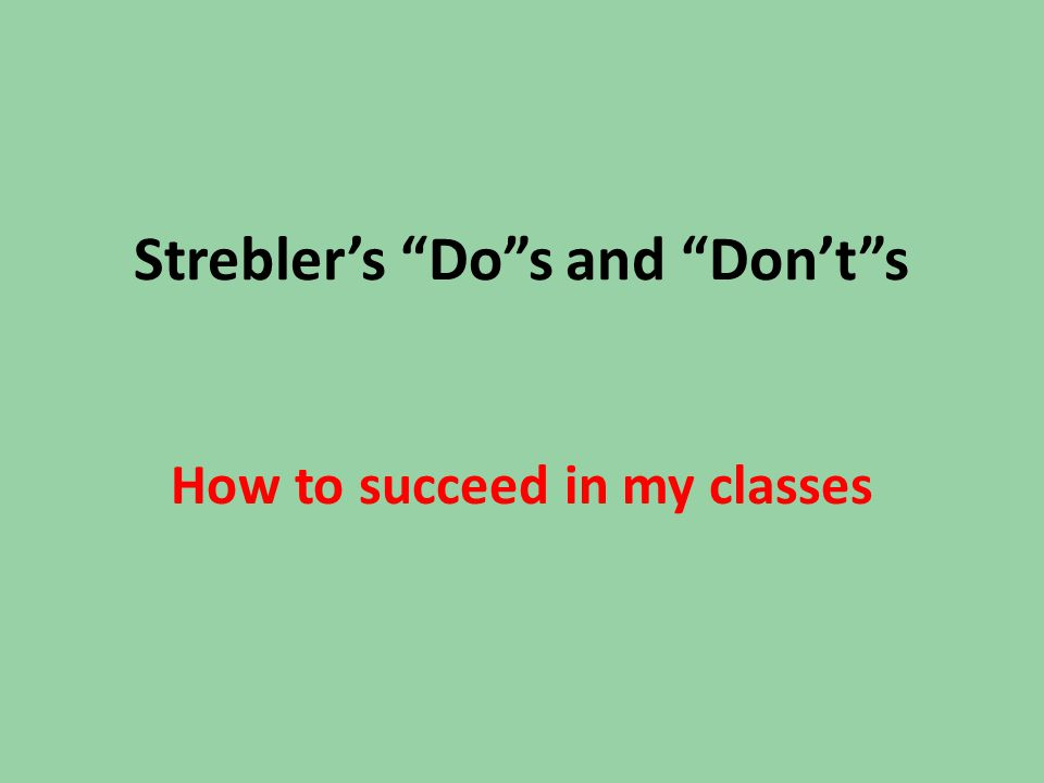 Strebler's Do s and Don't s How to succeed in my classes