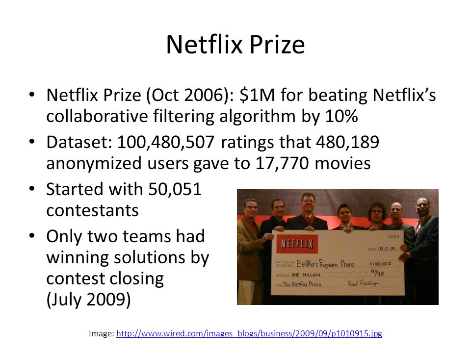 Netflix Prize Netflix Prize (Oct 2006): $1M for beating Netflix's collaborative filtering algorithm by 10% Dataset: 100,480,507 ratings that 480,189 anonymized users gave to 17,770 movies Started with 50,051 contestants Only two teams had winning solutions by contest closing (July 2009) Image: http://www.wired.com/images_blogs/business/2009/09/p1010915.jpghttp://www.wired.com/images_blogs/business/2009/09/p1010915.jpg