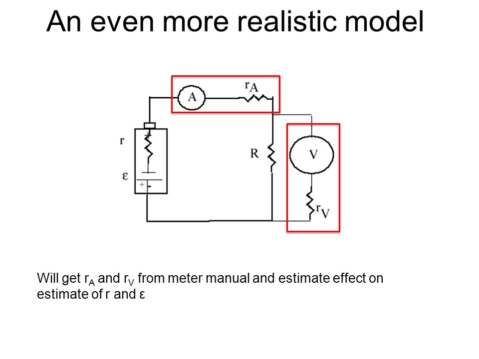 An even more realistic model Will get r A and r V from meter manual and estimate effect on estimate of r and ε