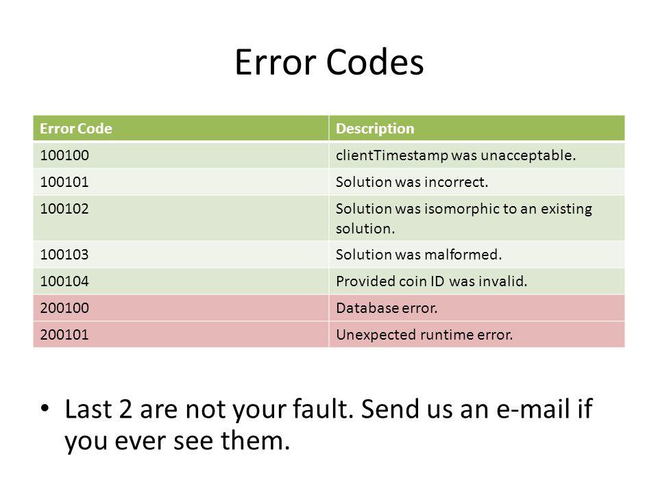 Error Codes Error CodeDescription 100100clientTimestamp was unacceptable.