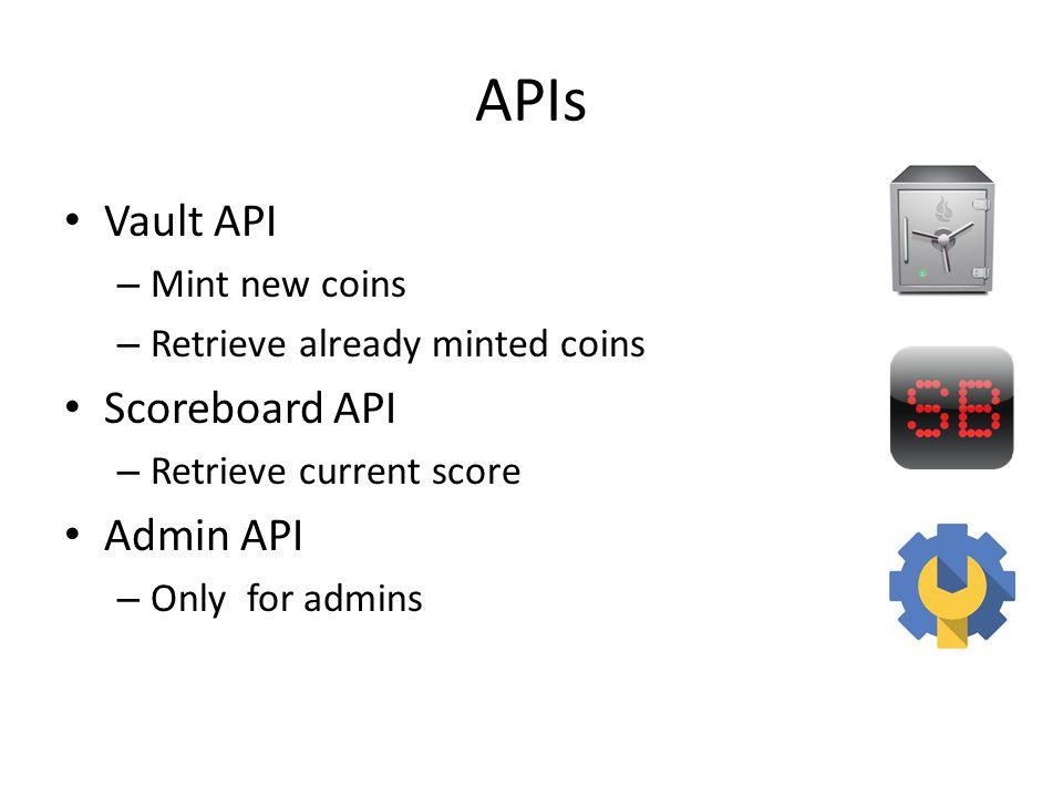 APIs Vault API – Mint new coins – Retrieve already minted coins Scoreboard API – Retrieve current score Admin API – Only for admins