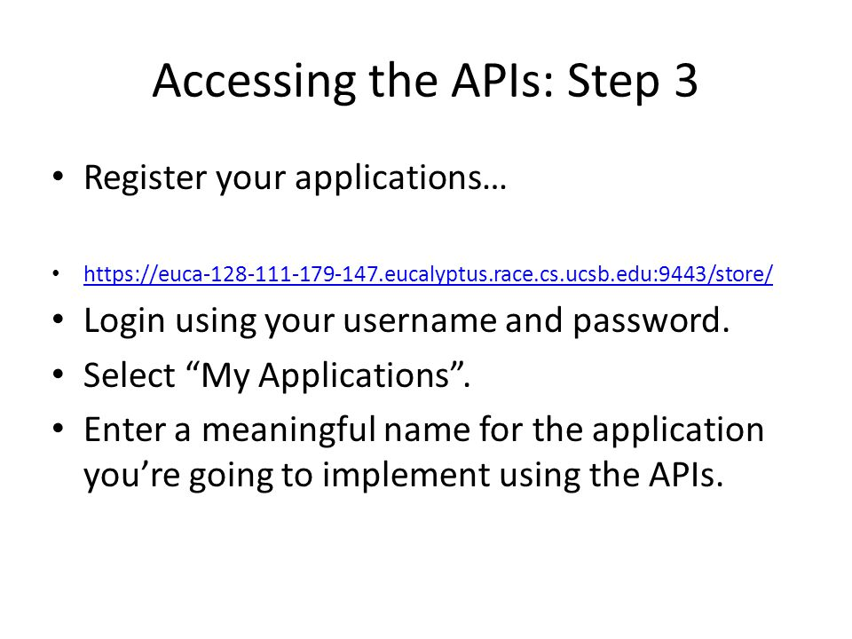 Accessing the APIs: Step 4 Subscribe to the APIs… Click on each API, select the application you registered in the previous step, select a throttling tier and click Subscribe .
