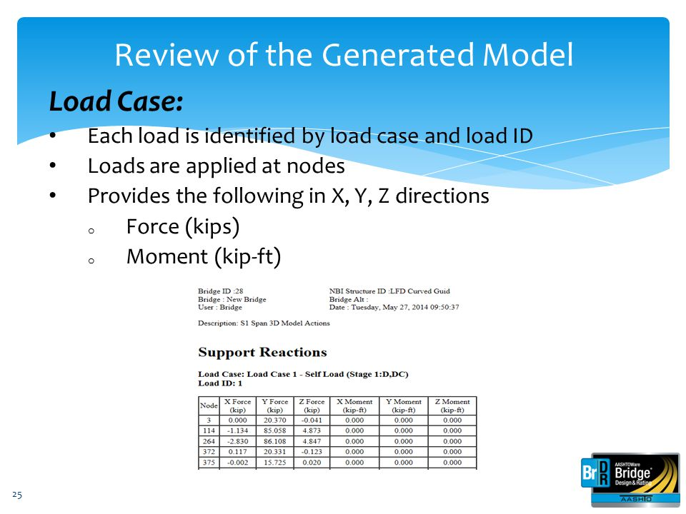 25 Load Case: Each load is identified by load case and load ID Loads are applied at nodes Provides the following in X, Y, Z directions o Force (kips)