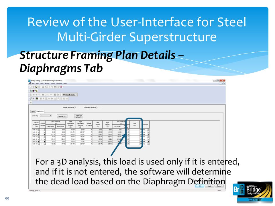 33 Structure Framing Plan Details – Diaphragms Tab Review of the User-Interface for Steel Multi-Girder Superstructure For a 3D analysis, this load is