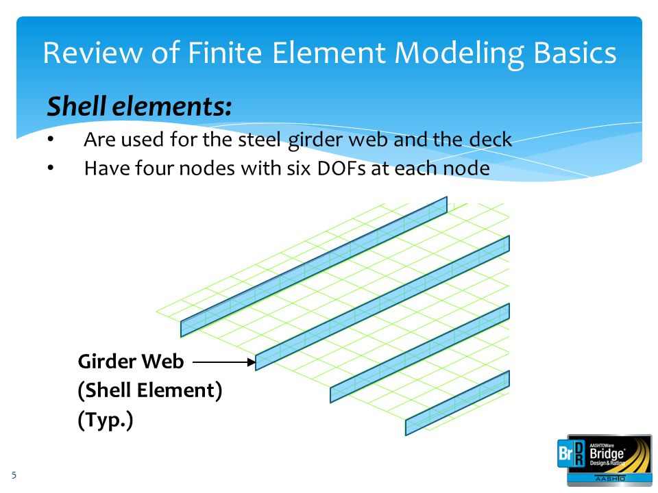 5 Shell elements: Are used for the steel girder web and the deck Have four nodes with six DOFs at each node Review of Finite Element Modeling Basics G