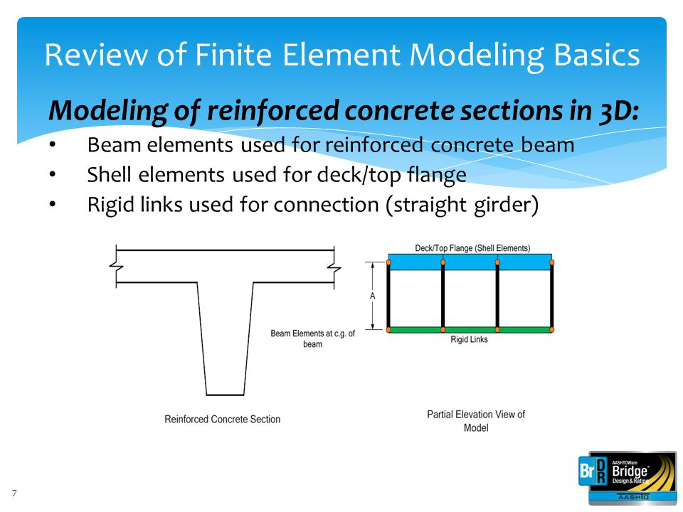 3D Analysis with AASHTOWare Bridge Design and Rating Here's what you'll learn in this presentation: 1.Review of finite element modeling basics 2.Review of generated model 3.Review of the user-interface for steel multi-girder superstructure 4.Review of how the analysis is performed 5.Review of available output 38