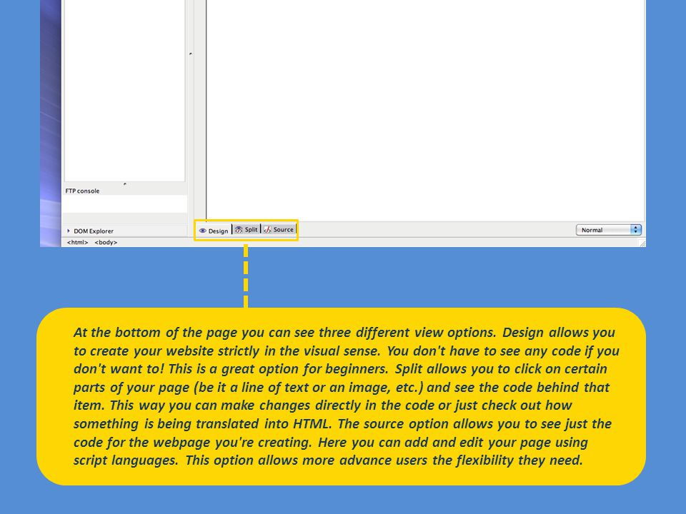 Now that we ve got a basic understanding of how the page will be set up, we can go back and edit how much of the table each row/column will take up which will create the affect we re looking for.