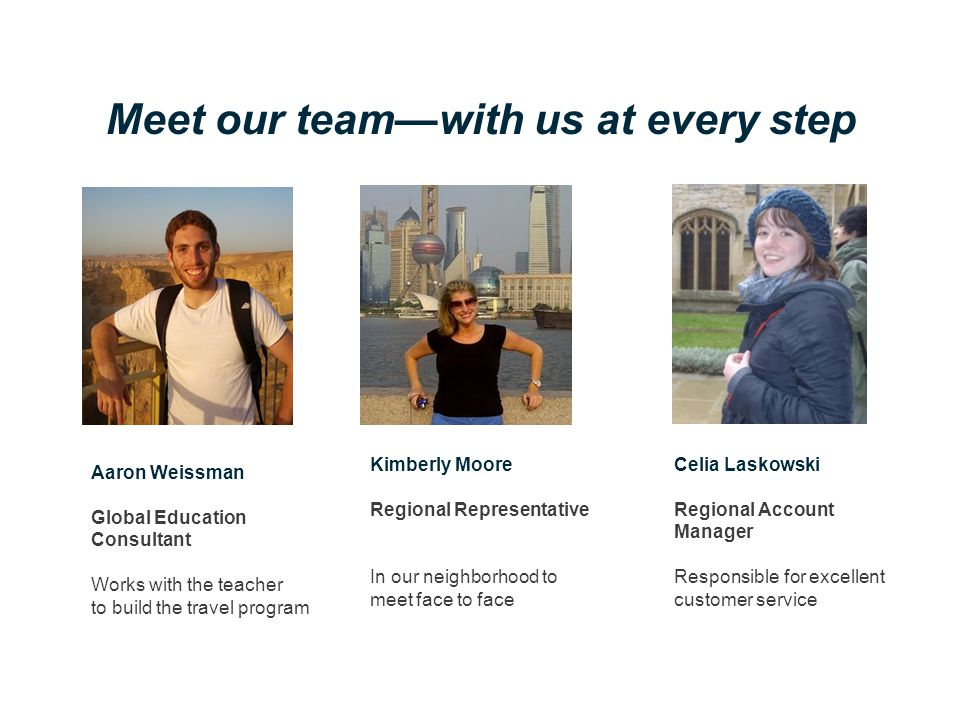 Meet our team—with us at every step Aaron Weissman Global Education Consultant Works with the teacher to build the travel program Kimberly Moore Regional Representative In our neighborhood to meet face to face Celia Laskowski Regional Account Manager Responsible for excellent customer service