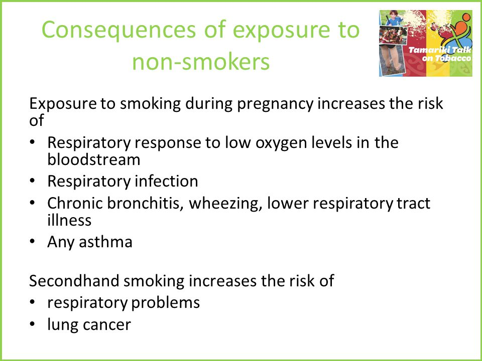Consequences of exposure to non-smokers Exposure to smoking during pregnancy increases the risk of Respiratory response to low oxygen levels in the bloodstream Respiratory infection Chronic bronchitis, wheezing, lower respiratory tract illness Any asthma Secondhand smoking increases the risk of respiratory problems lung cancer