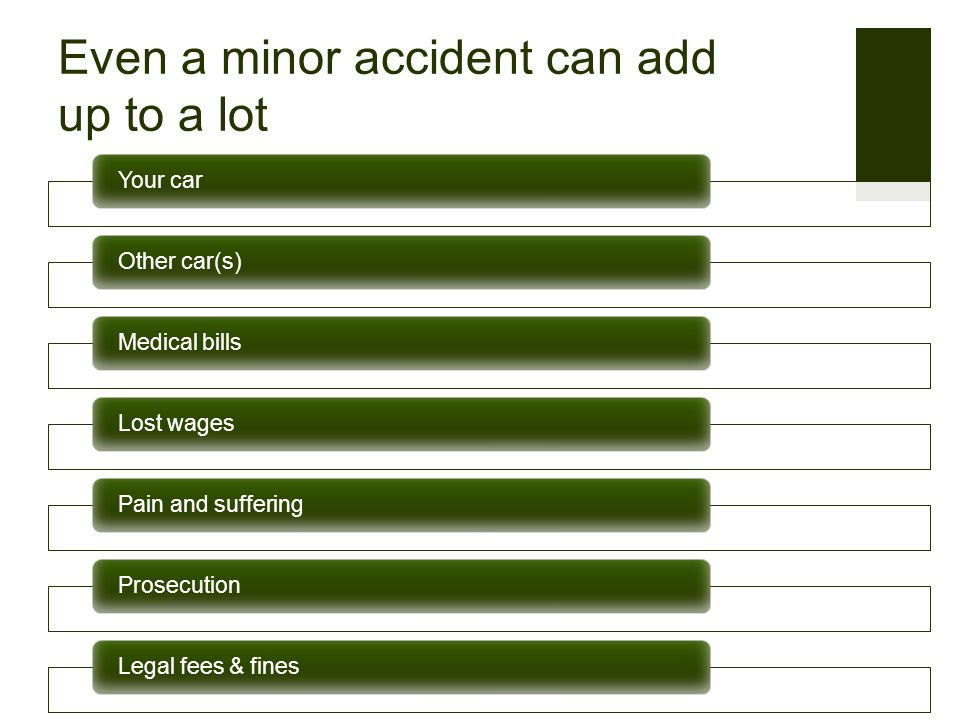 Even a minor accident can add up to a lot Your car Other car(s)Medical bills Lost wagesPain and sufferingProsecution Legal fees & fines
