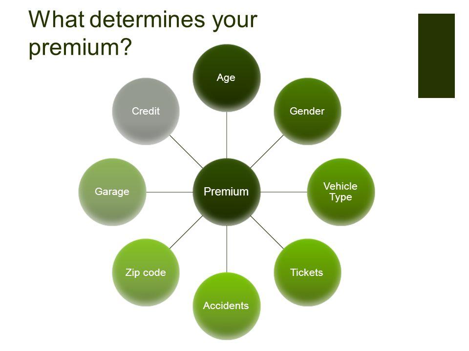 What determines your premium Premium AgeGender Vehicle Type TicketsAccidentsZip codeGarageCredit