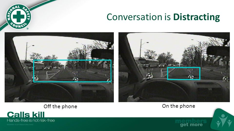 Conversation is Distracting Drivers talking on cell phones, handheld or hands-free, can miss seeing 50% of what's around them