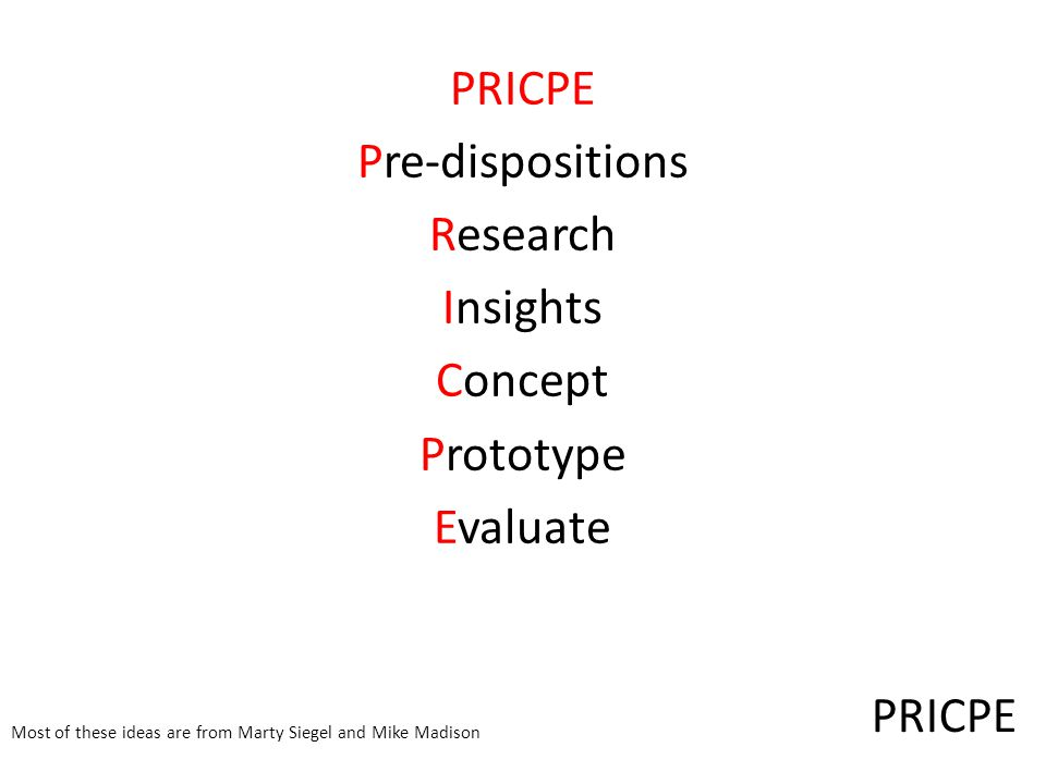 PRICPE Pre-dispositions Research Insights Concept Prototype Evaluate Most of these ideas are from Marty Siegel and Mike Madison