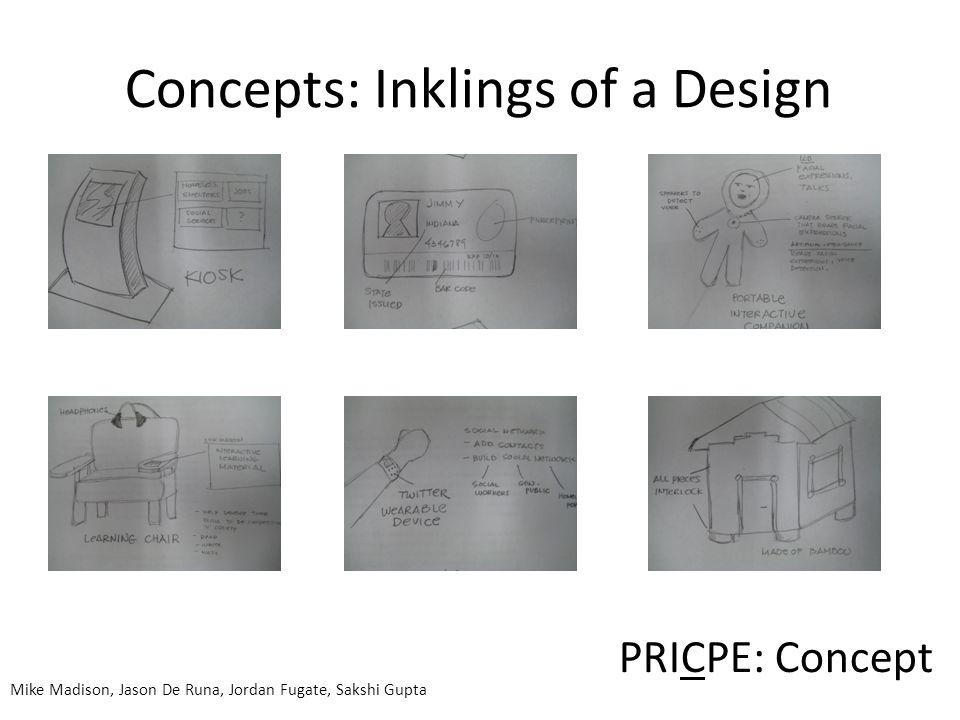 PRICPE: Concept Mike Madison, Jason De Runa, Jordan Fugate, Sakshi Gupta Concepts: Inklings of a Design