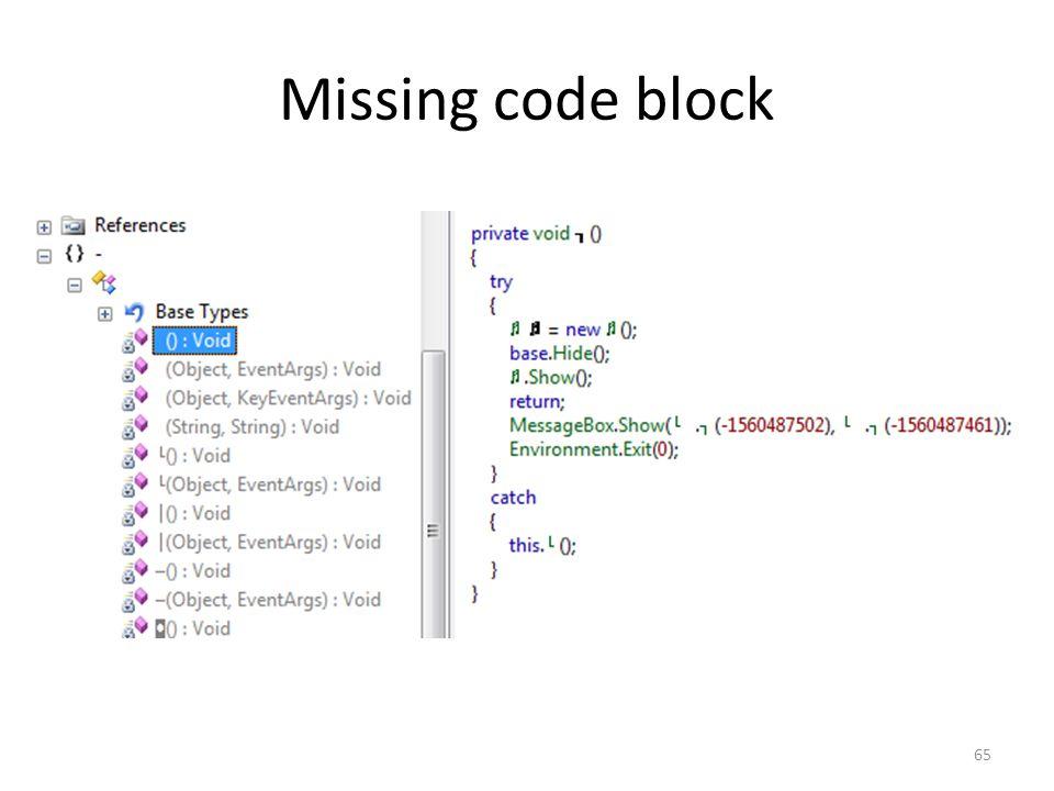 Missing code block 65