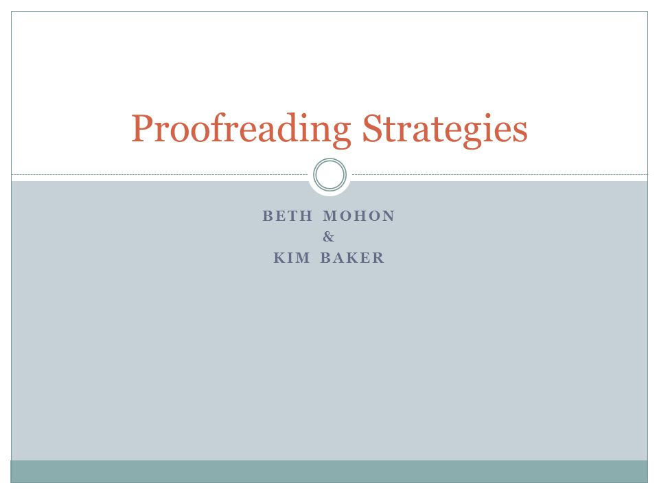 How do I teach my students to proofread by themselves?