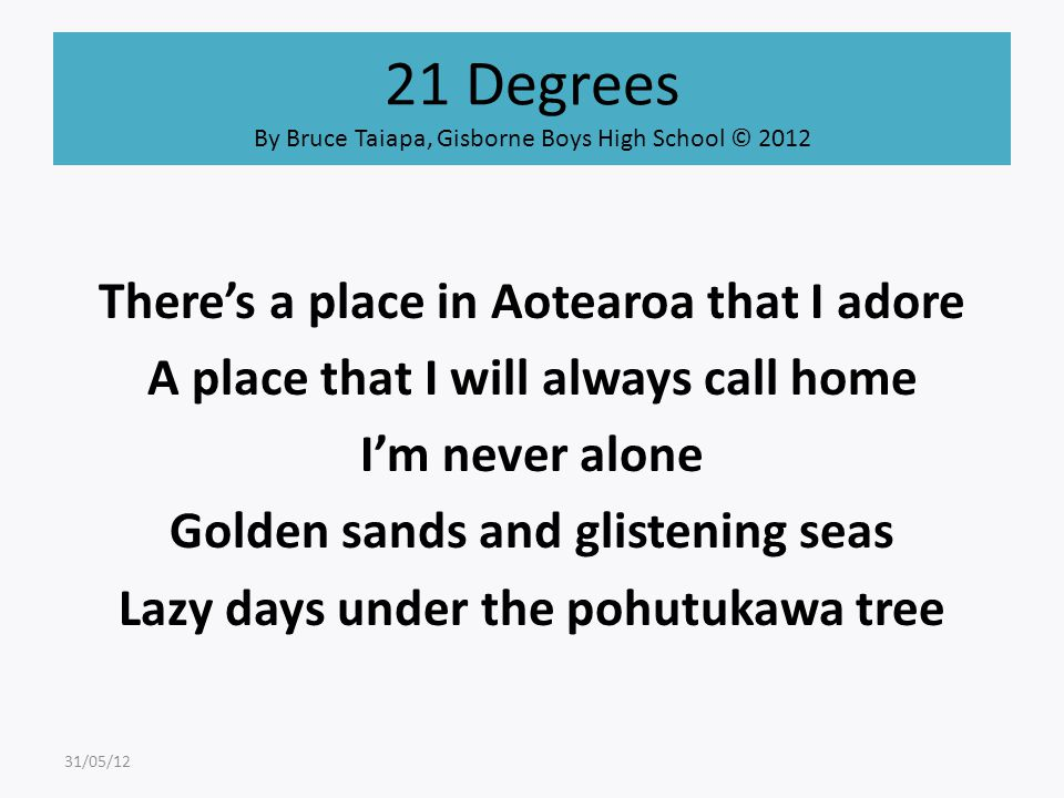 21 Degrees By Bruce Taiapa, Gisborne Boys High School © 2012 There's a place in Aotearoa that I adore A place that I will always call home I'm never a