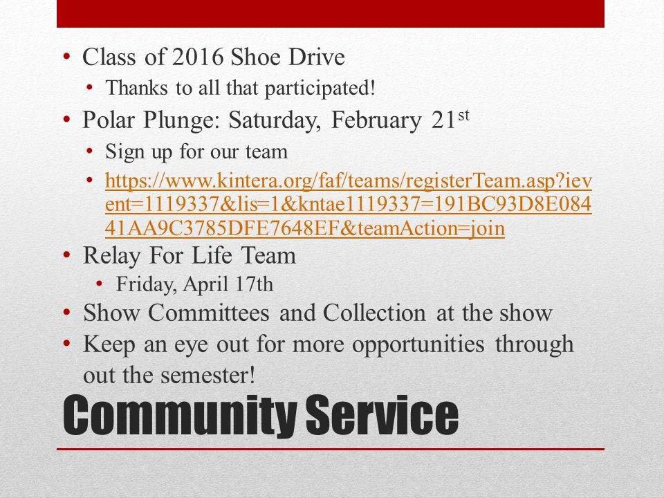 Community Service Class of 2016 Shoe Drive Thanks to all that participated.