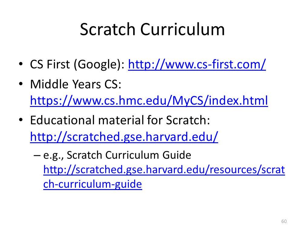 Scratch Curriculum CS First (Google): http://www.cs-first.com/http://www.cs-first.com/ Middle Years CS: https://www.cs.hmc.edu/MyCS/index.html https://www.cs.hmc.edu/MyCS/index.html Educational material for Scratch: http://scratched.gse.harvard.edu/ http://scratched.gse.harvard.edu/ – e.g., Scratch Curriculum Guide http://scratched.gse.harvard.edu/resources/scrat ch-curriculum-guide http://scratched.gse.harvard.edu/resources/scrat ch-curriculum-guide 60
