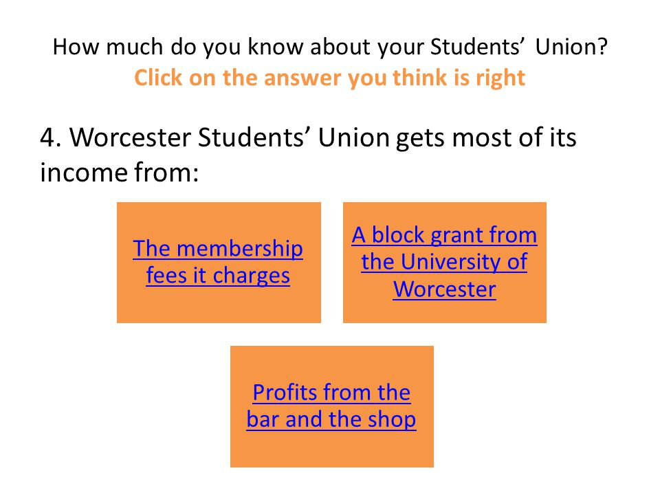 How much do you know about your Students' Union. Click on the answer you think is right 4.