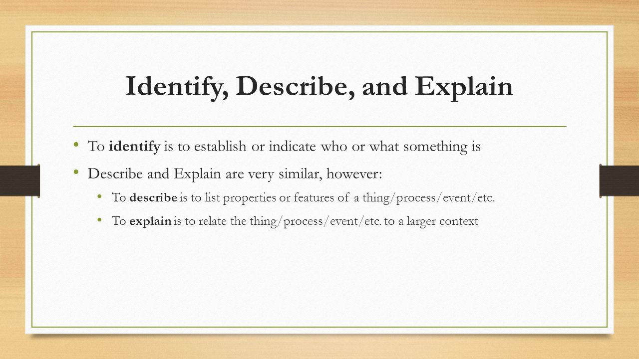 Identify/Describe/Explain Practice (3 minutes) Language IdentifyDescribeExplain