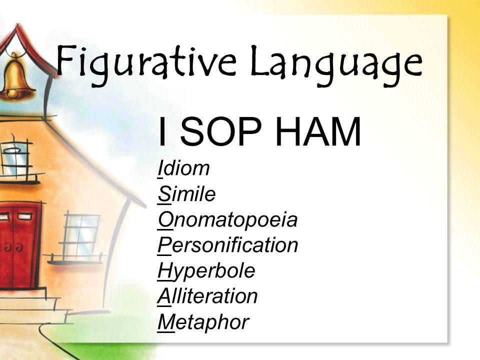 Figurative Language I SOP HAM Idiom Simile Onomatopoeia Personification Hyperbole Alliteration Metaphor