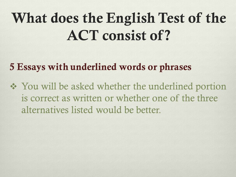 What does the English Test of the ACT consist of.