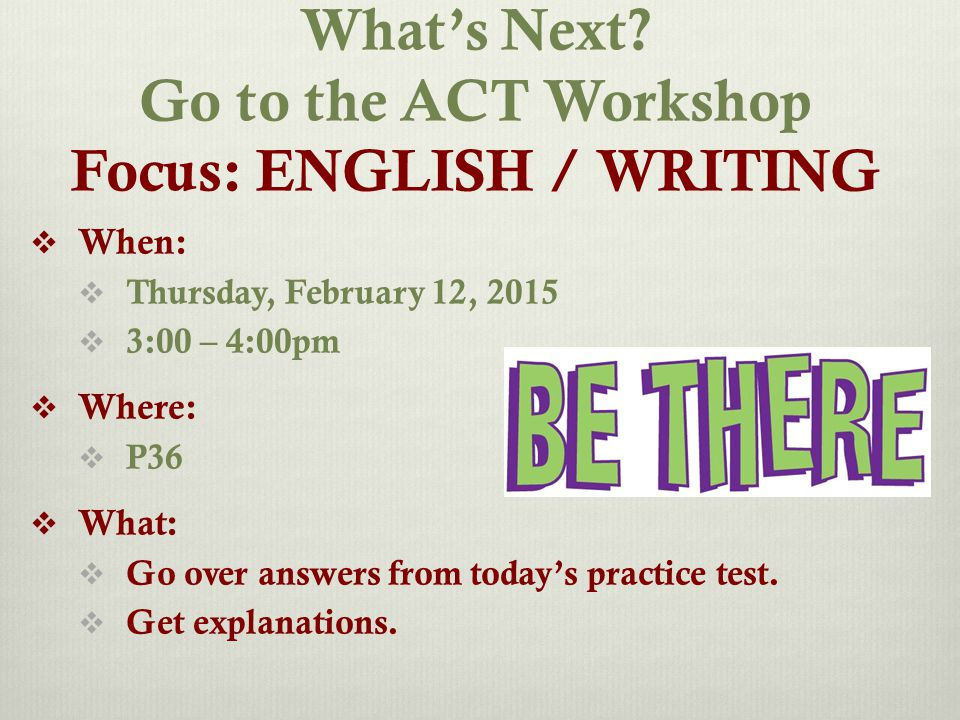 Logistics of Writing Test  # of Questions  1 prompt  Time  30 minutes