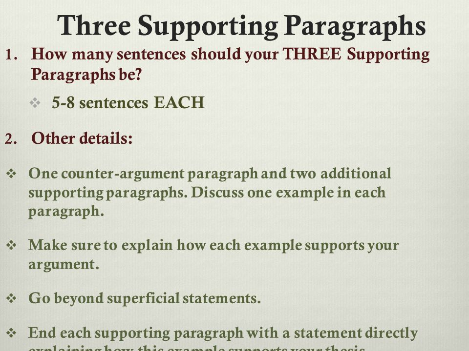 Three Supporting Paragraphs 1. How many sentences should your THREE Supporting Paragraphs be.