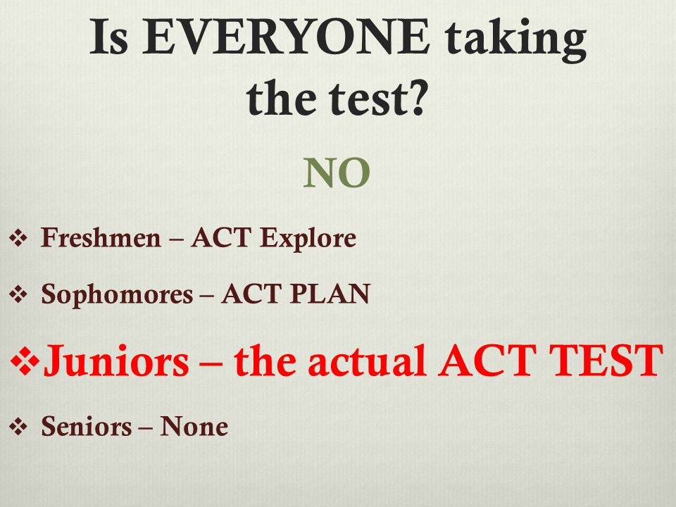 Is EVERYONE taking the test.