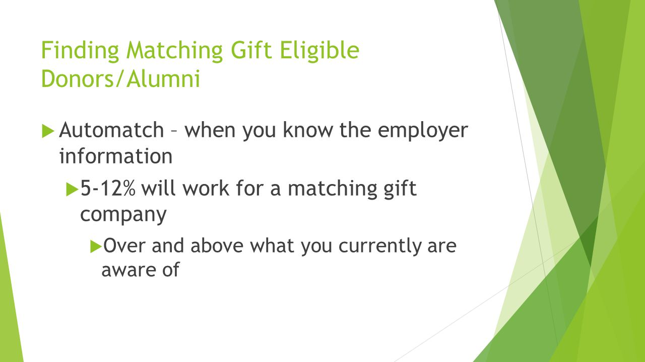 Finding Matching Gift Eligible Donors/Alumni  Employer Find Example  10,000 record file is screened using Employer Find  We find 30% of the employment information or 3,000 donors  5-12% of the 3000 will work for a matching gift company  That EQUALS 300 Matching Gift Eligible Donors  You pay only if we find employer information .50 cents per hit  You have the recurring revenue of the matching gift once  Secured