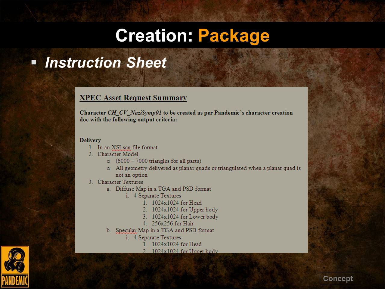  Instruction Sheet Creation: Package Concept