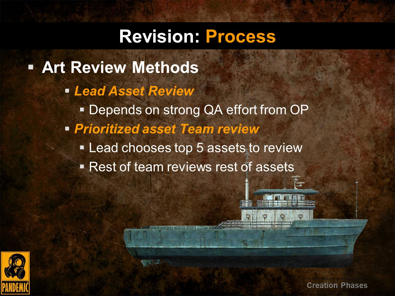  Art Review Methods  Lead Asset Review  Depends on strong QA effort from OP  Prioritized asset Team review  Lead chooses top 5 assets to review  Rest of team reviews rest of assets Revision: Process Creation Phases