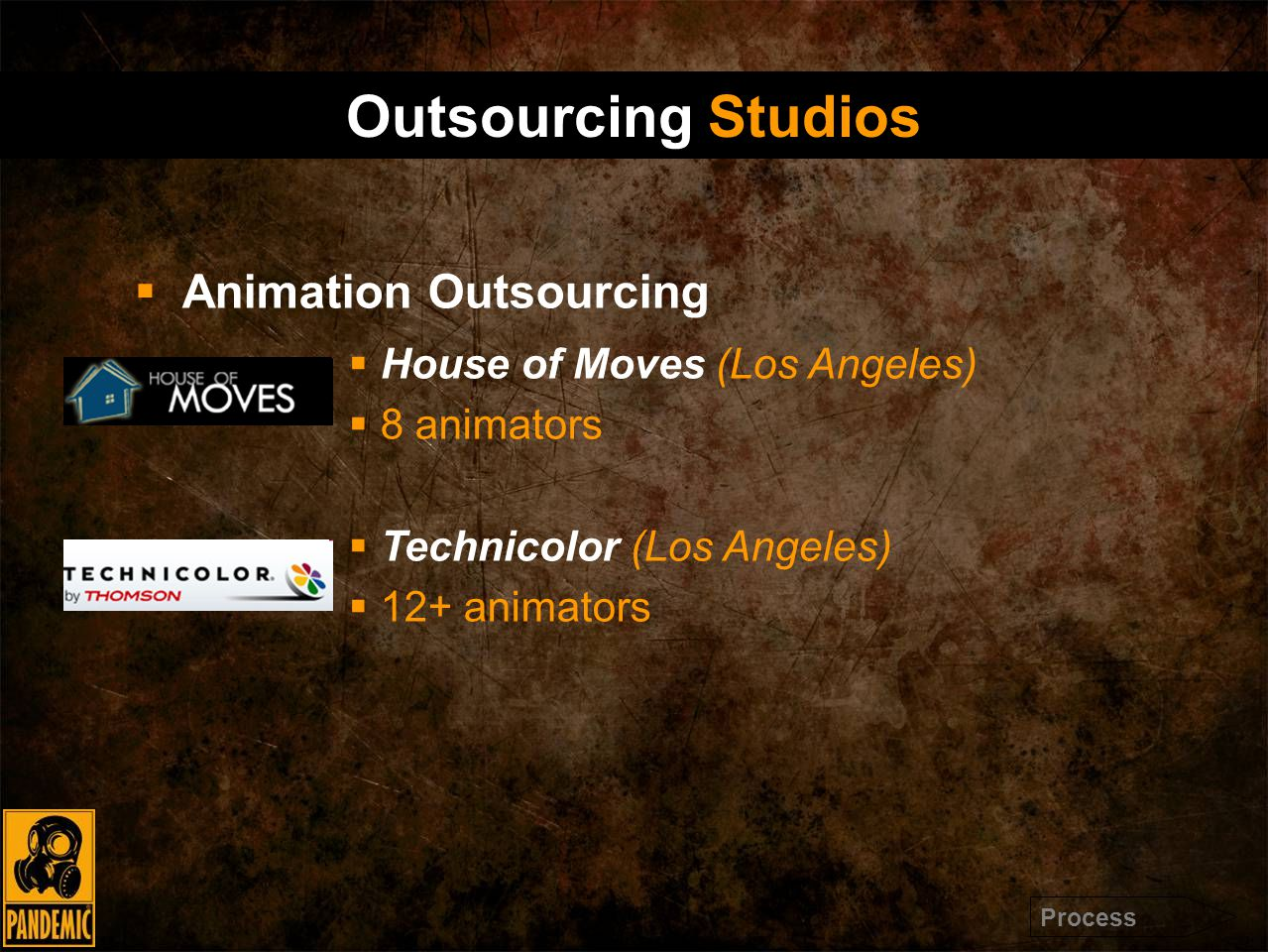  Animation Outsourcing  House of Moves (Los Angeles)  8 animators  Technicolor (Los Angeles)  12+ animators Outsourcing Studios Process