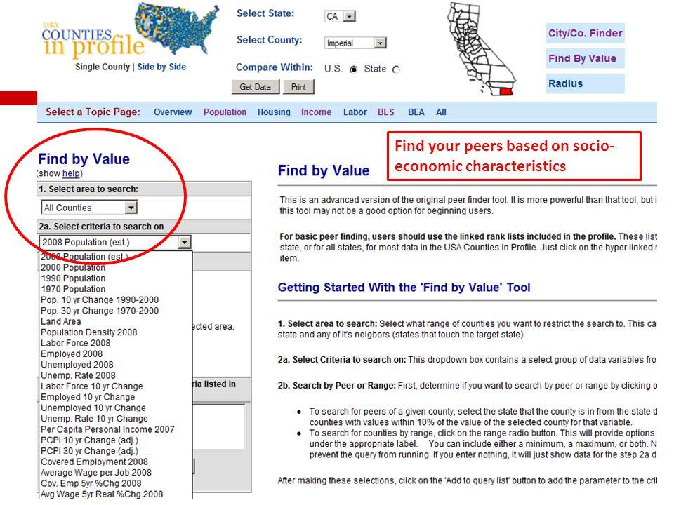 Find your peers based on socio- economic characteristics