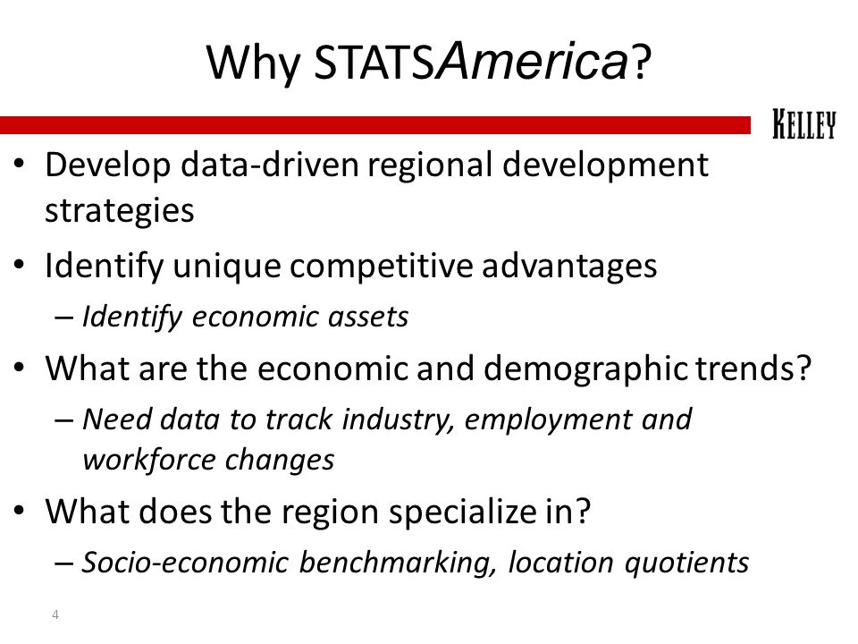 Why STATS America ? Develop data-driven regional development strategies Identify unique competitive advantages – Identify economic assets What are the