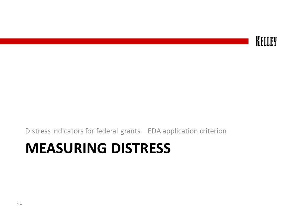 MEASURING DISTRESS Distress indicators for federal grants—EDA application criterion 41