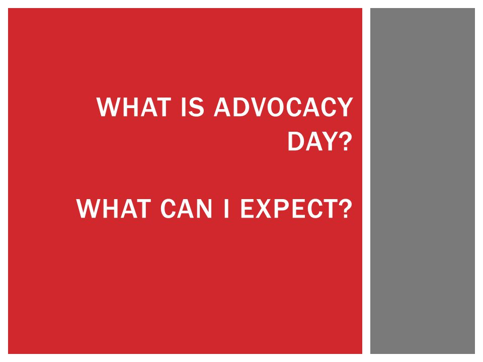 WHAT IS ADVOCACY DAY? WHAT CAN I EXPECT?