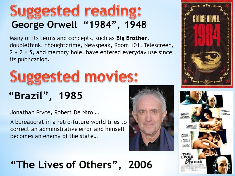 George Orwell 1984 , 1948 Brazil , 1985 The Lives of Others , 2006 Many of its terms and concepts, such as Big Brother, doublethink, thoughtcrime, Newspeak, Room 101, Telescreen, 2 + 2 = 5, and memory hole, have entered everyday use since its publication.