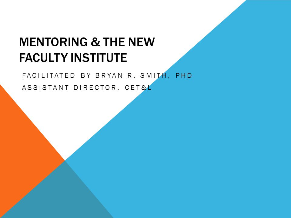 MENTORING & THE NEW FACULTY INSTITUTE FACILITATED BY BRYAN R. SMITH, PHD ASSISTANT DIRECTOR, CET&L