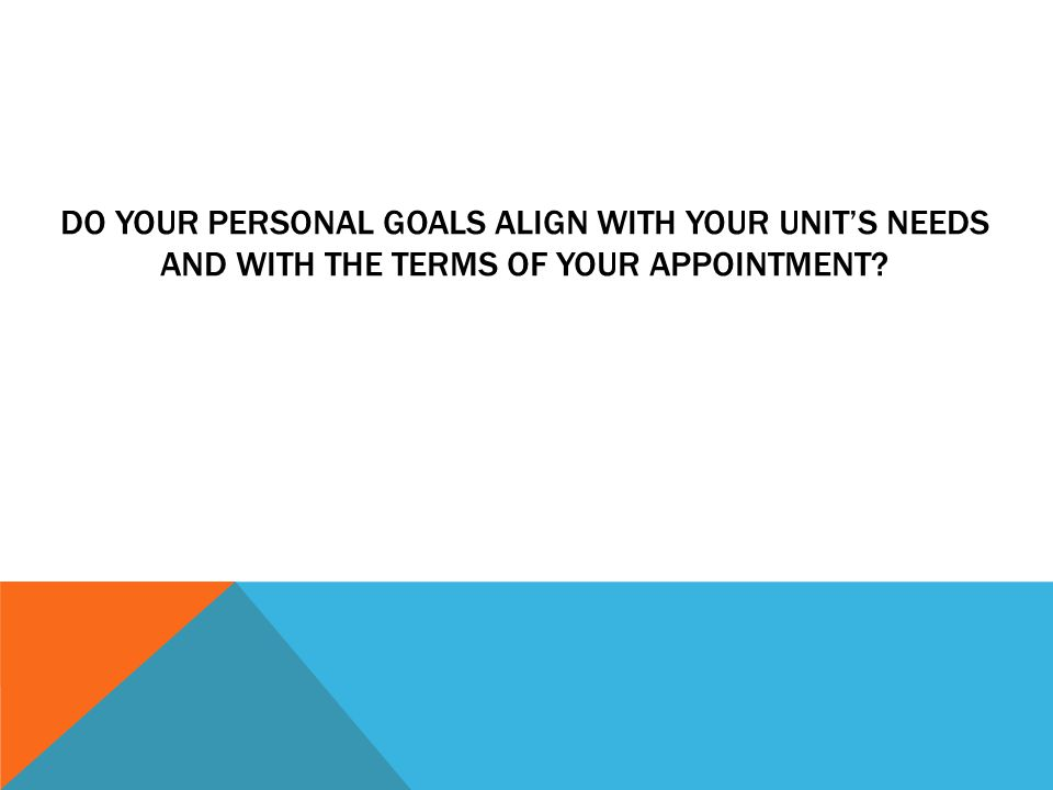 DO YOUR PERSONAL GOALS ALIGN WITH YOUR UNIT'S NEEDS AND WITH THE TERMS OF YOUR APPOINTMENT