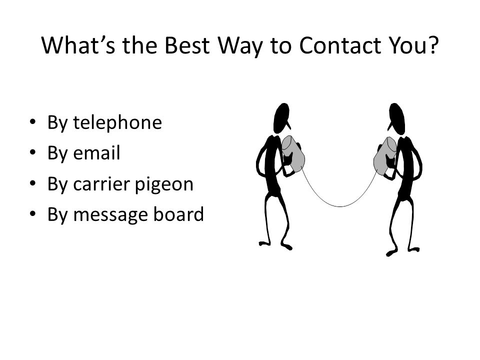 What's the Best Way to Contact You? By telephone By email By carrier pigeon By message board