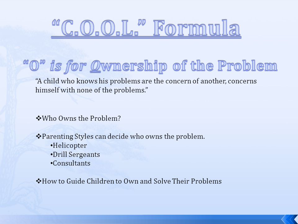  Who Owns the Problem.  Parenting Styles can decide who owns the problem.