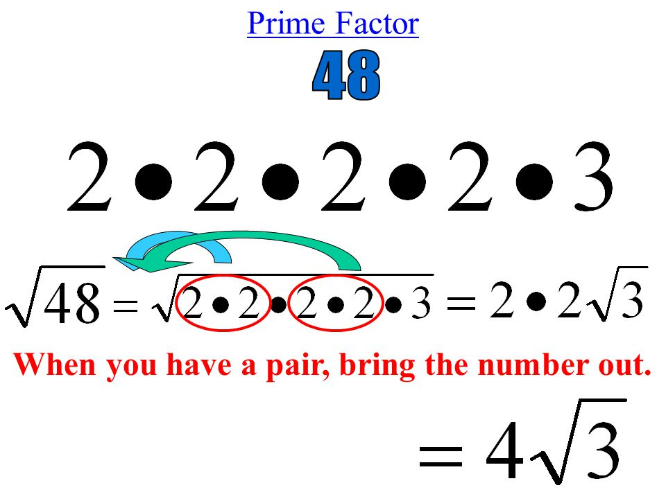 Prime Factor When you have a pair, bring the number out.