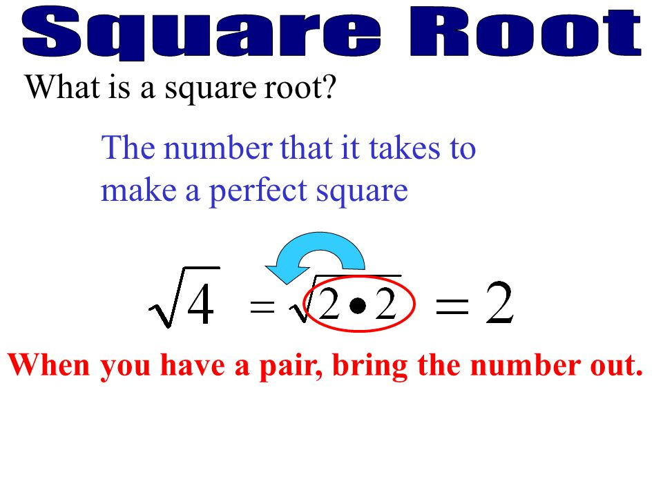 The number that it takes to make a perfect square What is a square root? When you have a pair, bring the number out.